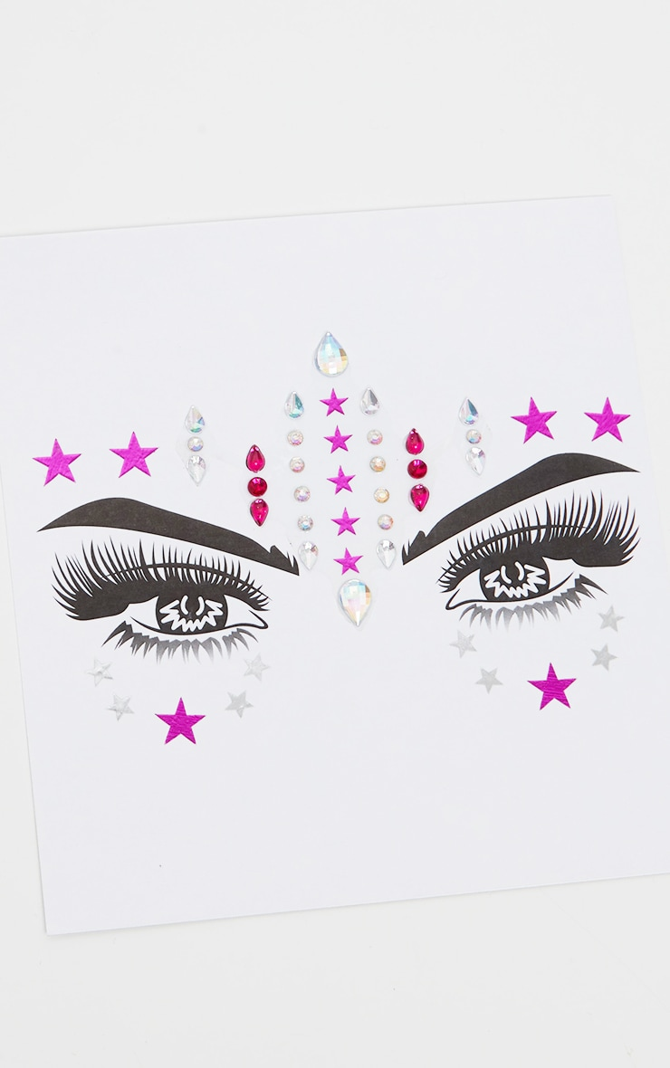 PRETTYLITTLETHING Pink Stars Face Jewels 4