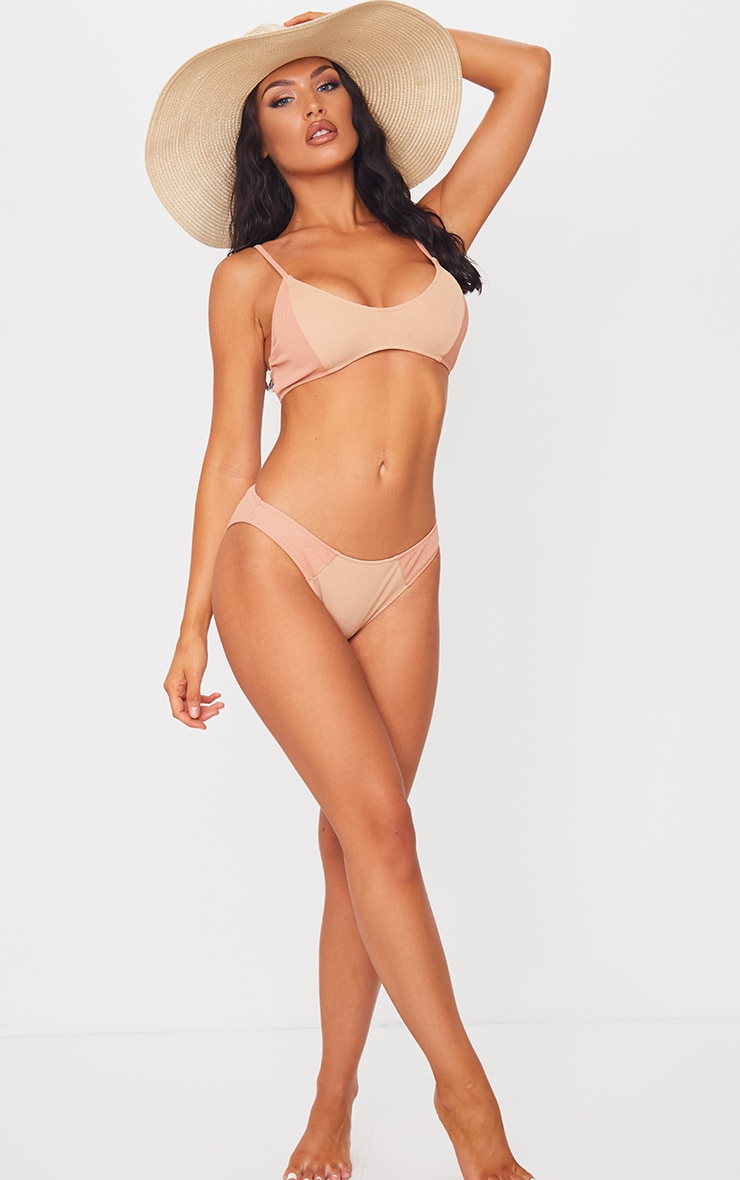 Nude Two Tone Ribbed High Leg Bikini Bottoms 3