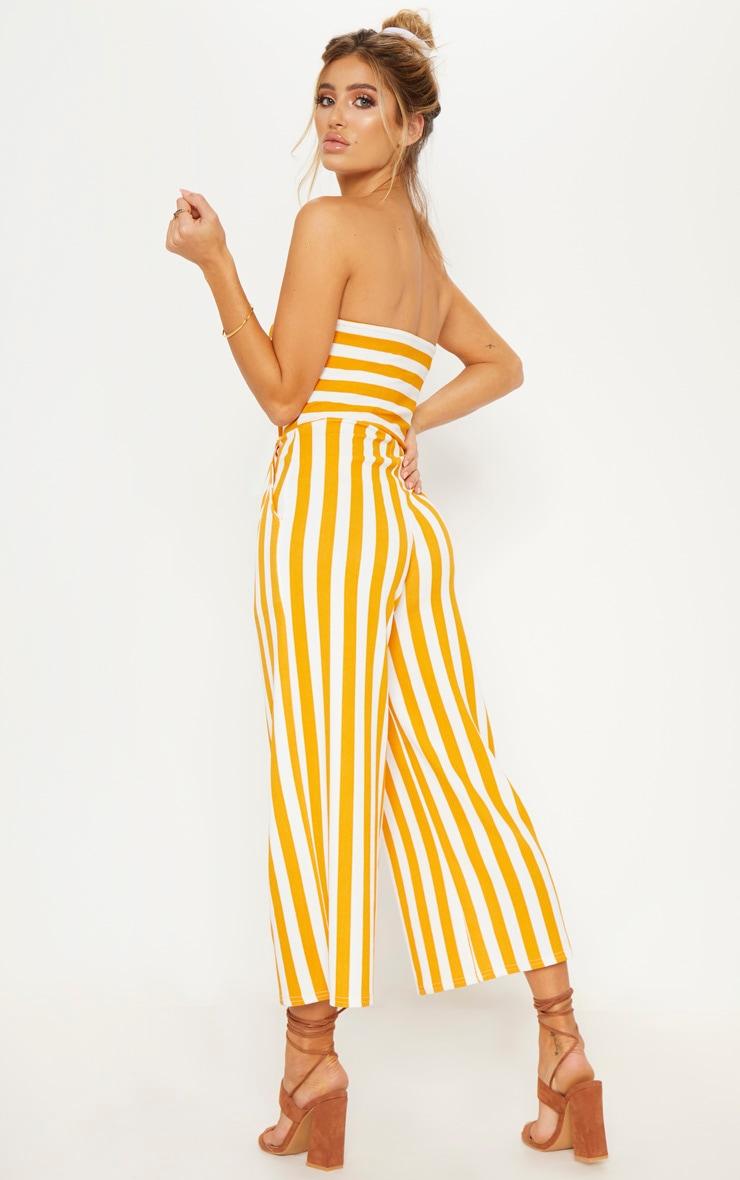 Mustard Contrast Stripe Bandeau Culotte Jumpsuit 3