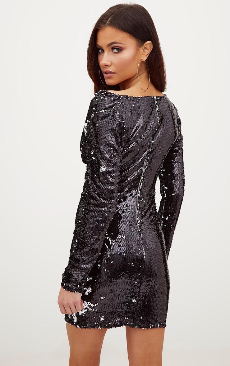 Black Sequin Long Sleeve Cowl Neck Bodycon Dress 2