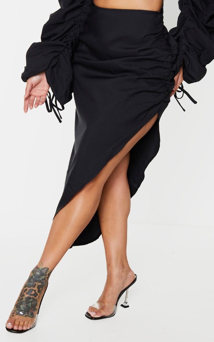 Shape Black Ruched Front Midi Skirt 2