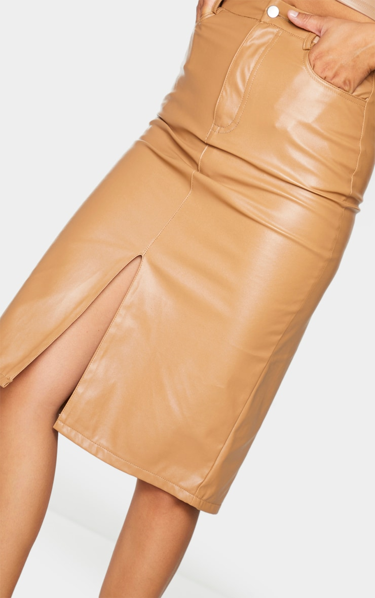 Camel Faux Leather Split Hem Midi Skirt 4