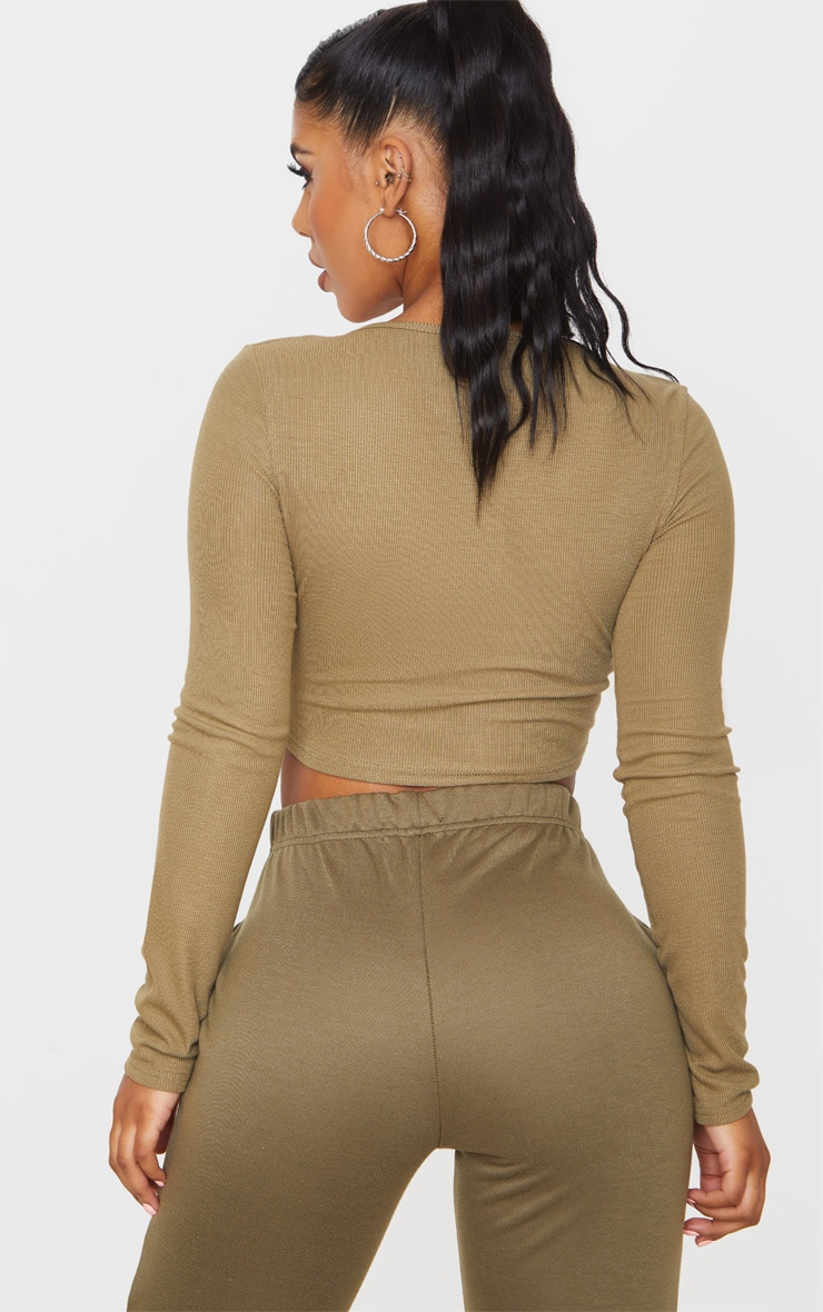 Khaki Rib Popper Scoop Neck Crop Top 2