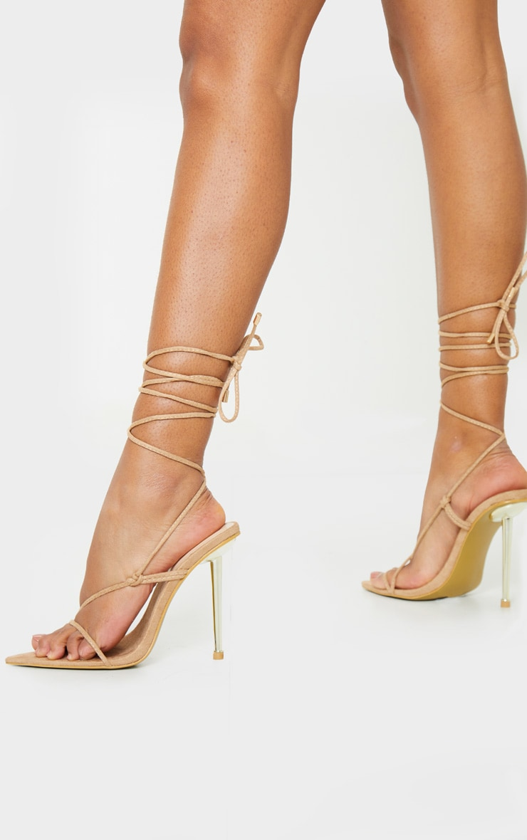 Nude Metal Heel Lace Up Faux Suede Stiletto Heels 2