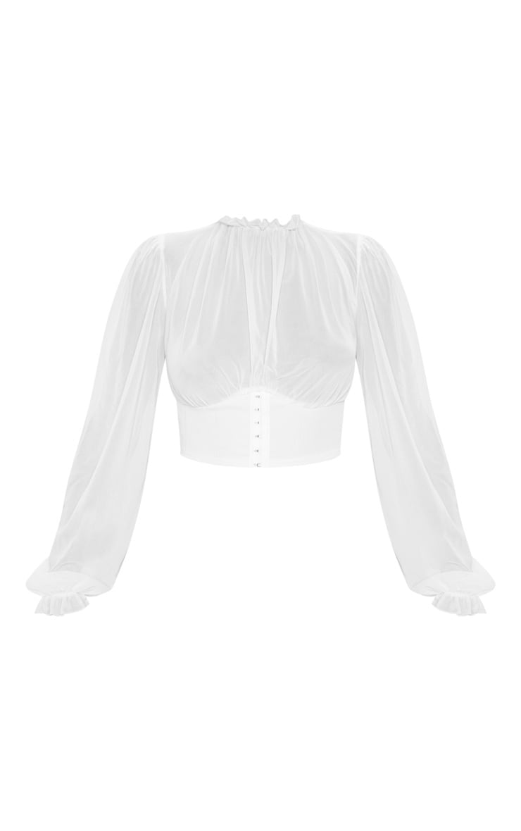 Cream Mesh Hook and Eye Underbust Blouse 3
