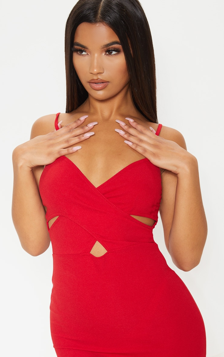 Red Strappy Cross Front Bodycon Dress 5