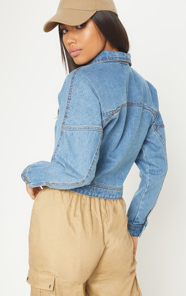 Mid Wash Denim Biker Jacket 2