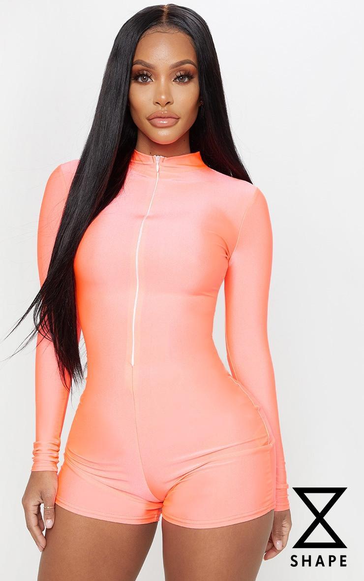 Shape Neon Pink Disco Long Sleeve Unitard 1