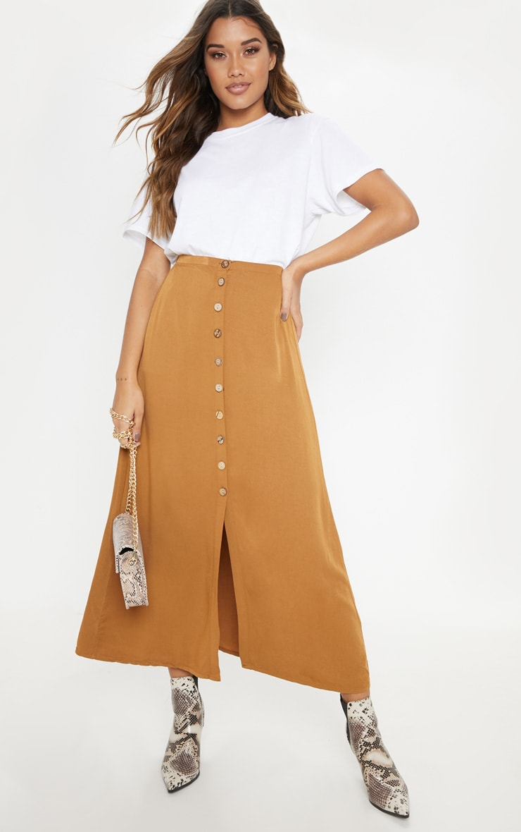 Tobacco Button Front High Waisted Midi Skirt