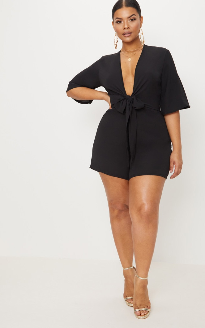 Plus Black Tie Waist Playsuit 4