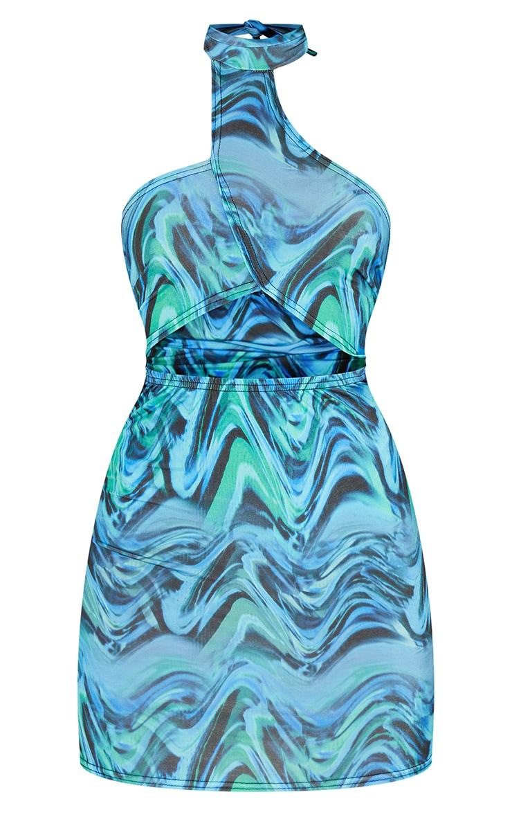 Blue Marble Print Slinky Halterneck Cut Out Bodycon Dress 5
