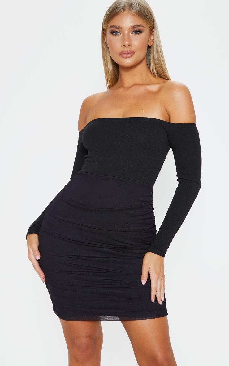 Black Bardot Long Sleeve Ruched Bodycon Dress 4