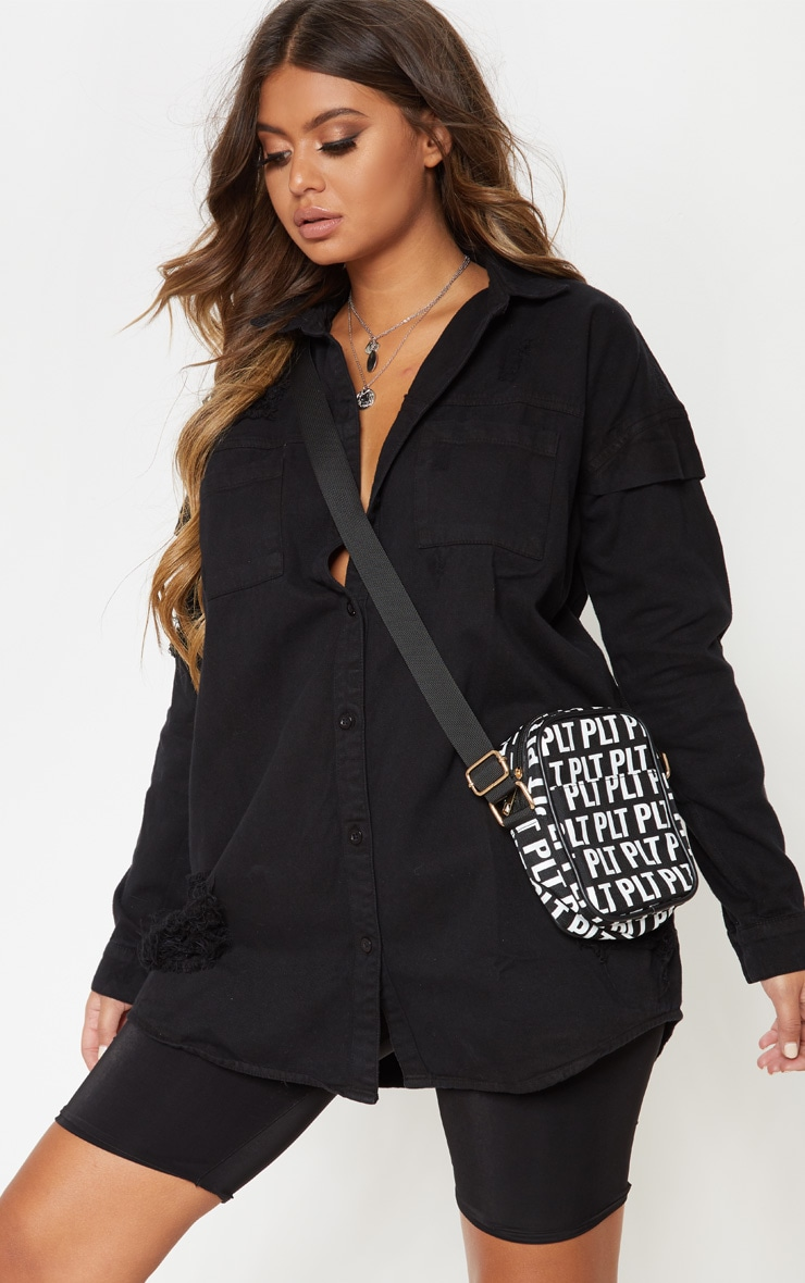 Black Oversized Distressed Denim Shirt 2