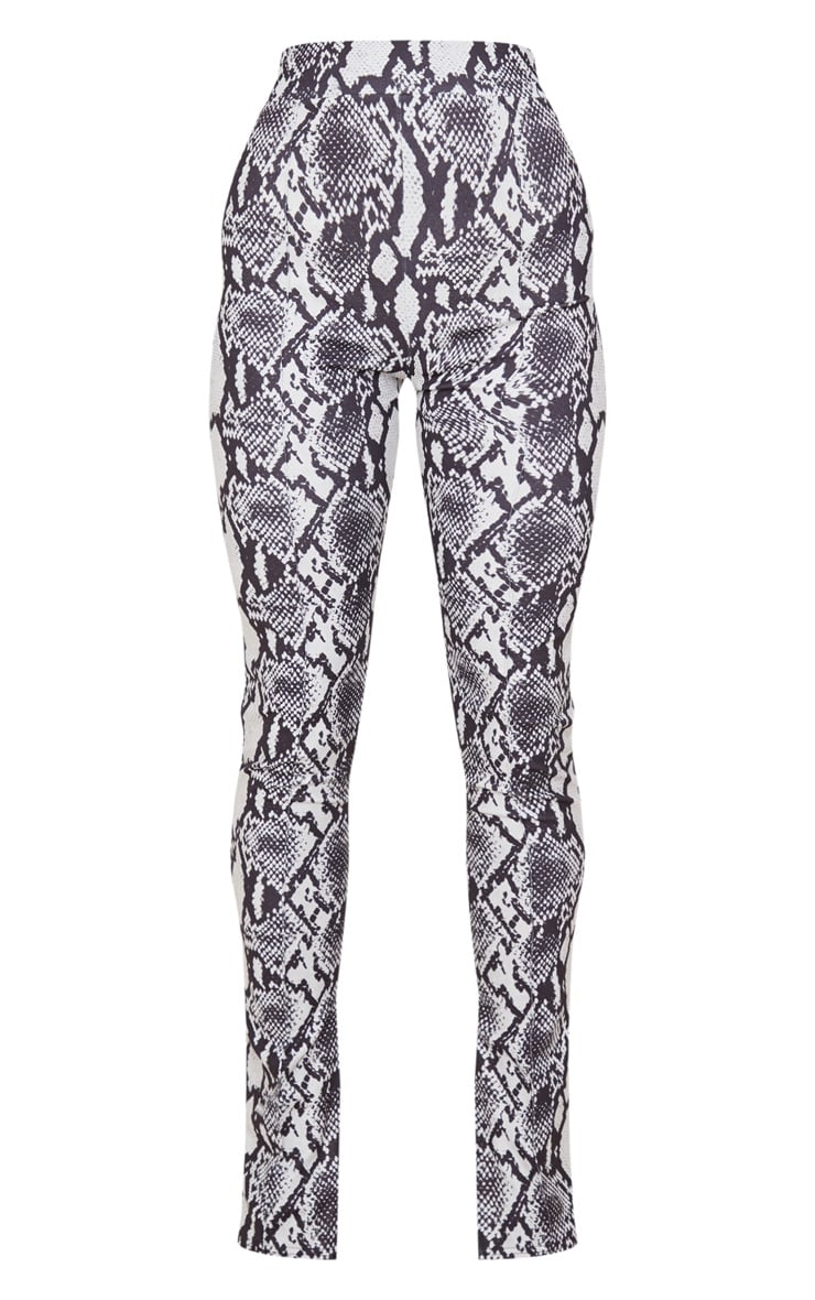 Grey Snake Split Hem Skinny Pants 3