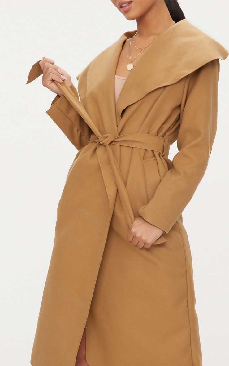 Veronica Camel Oversized Waterfall Belt Coat 5