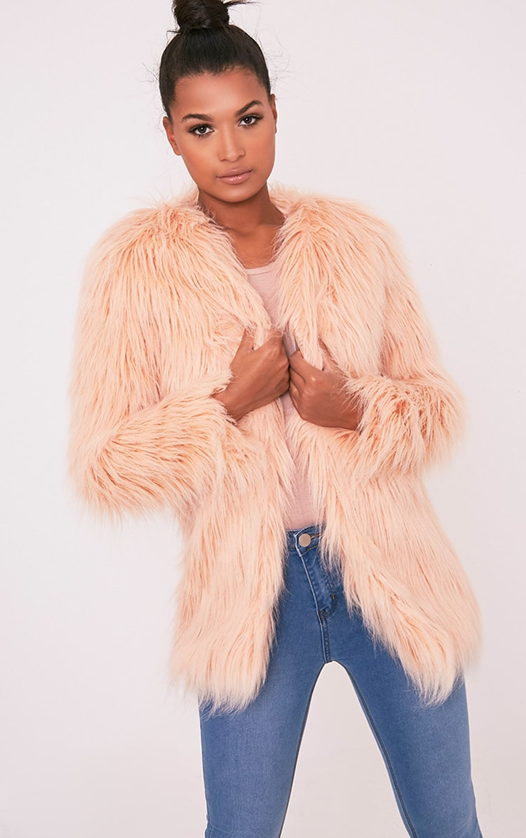 Amaria Nude Shaggy Faux Fur Jacket