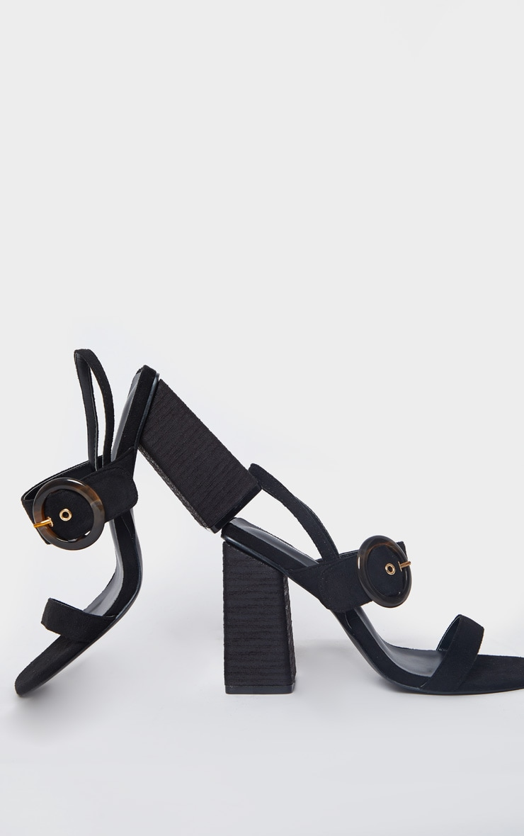 Black Wood Block Heel Buckle Square Toe Sandals 3