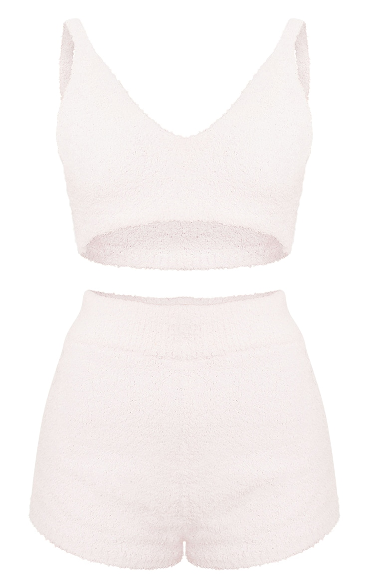 Pale Pink Chenille Bralet And Shorts Lounge Set 5