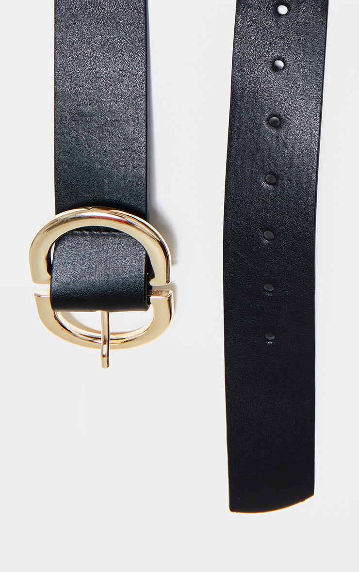 Black PU Gold D Buckle Detail Waist Belt 4