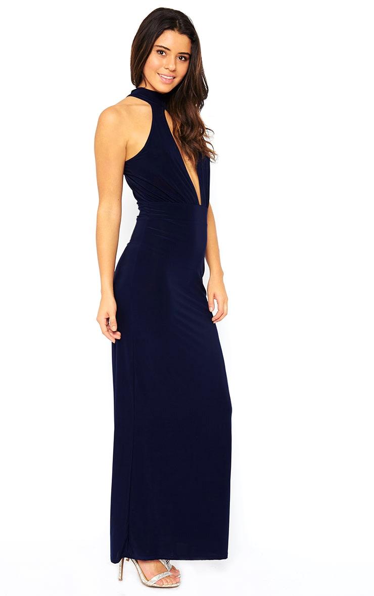 Desiree Navy Slit Front Maxi Dress 1