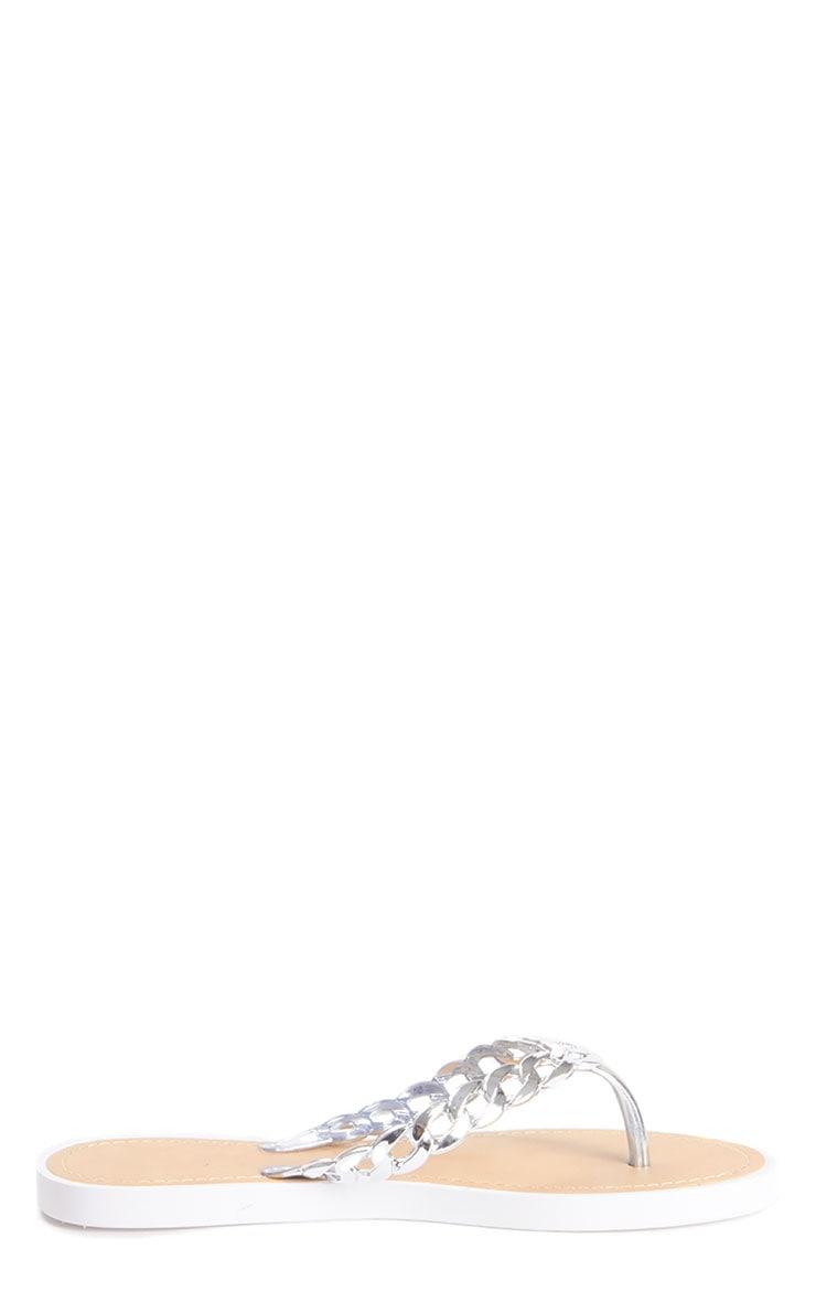 Amaya White Silver Chain Flip Flop  4