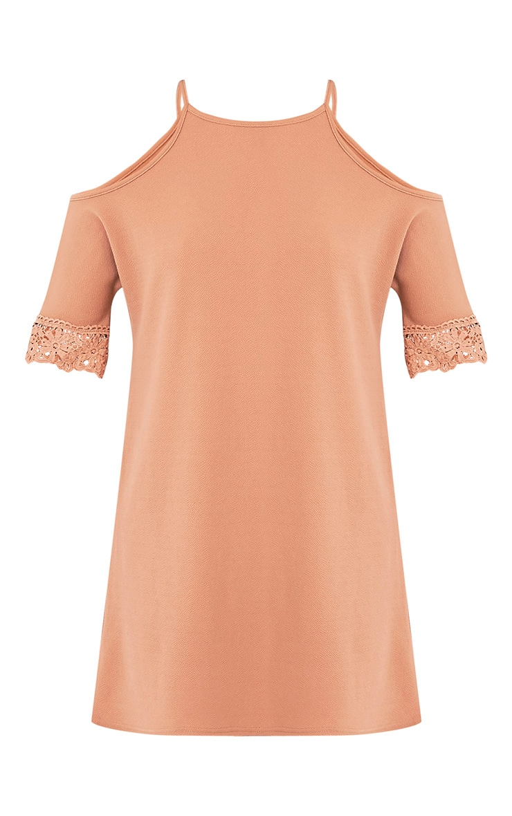 Christie Camel Lace Trim Cold Shoulder Dress 3