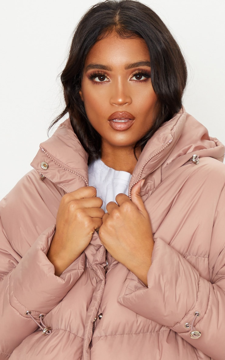 Taupe Hooded Puffer Jacket 5