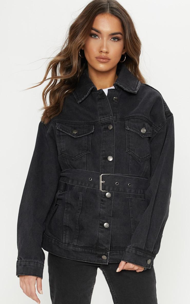 Black Buckle Waist Denim Jacket