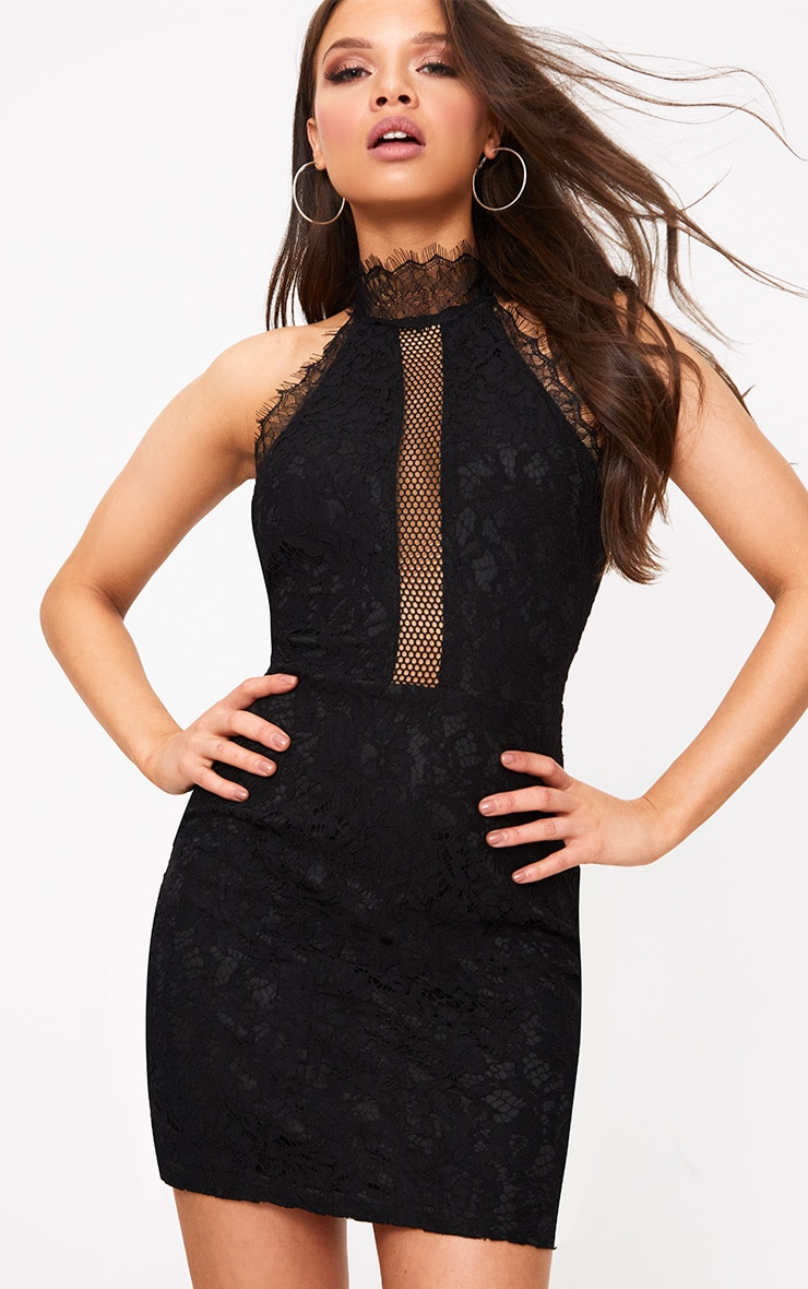 Shelby Black Lace High Neck Bodycon Dress 1