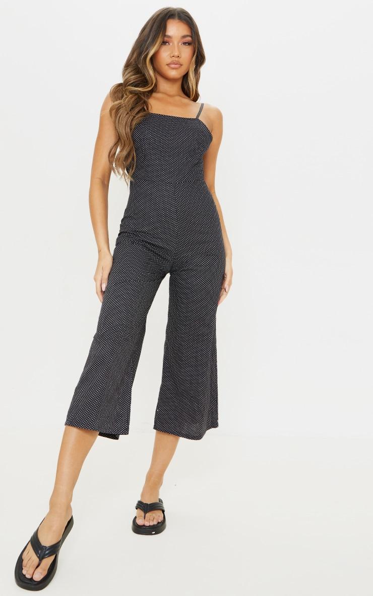 Black Polka Dot Tie Back Culotte Jumpsuit 2