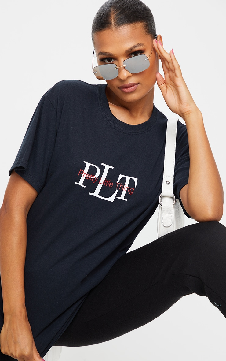PRETTYLITTLETHING Black Oversized Slogan T Shirt 4