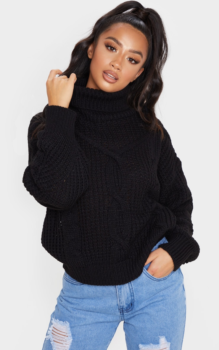 Petite Black Oversized Chunky Knit Sweater 1
