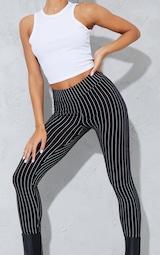 Black Pinstripe High Waisted Leggings 4