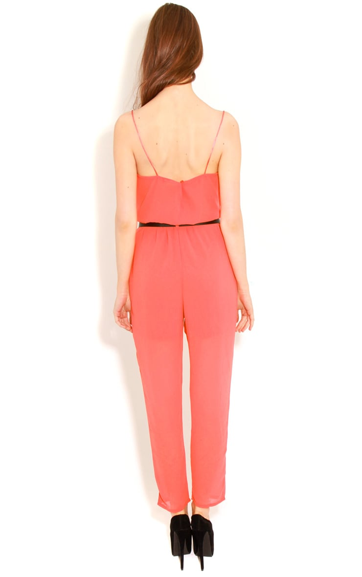 Annabel Coral Chiffon Strappy Jumpsuit  2