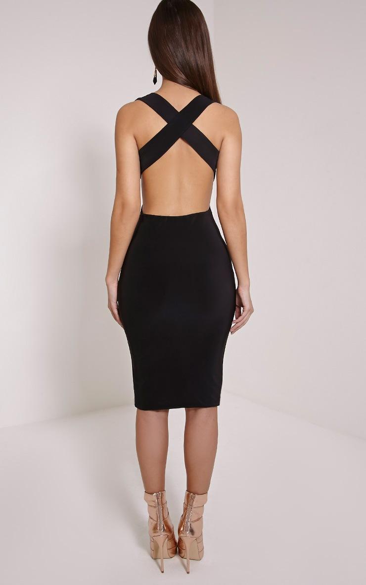 Biddy Black Deep V Plunge Cross Back Midi Dress 2