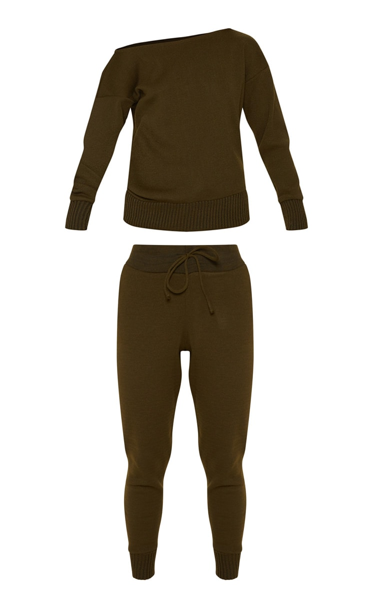 Auriel Khaki Jogger Jumper Knitted Lounge Set 3