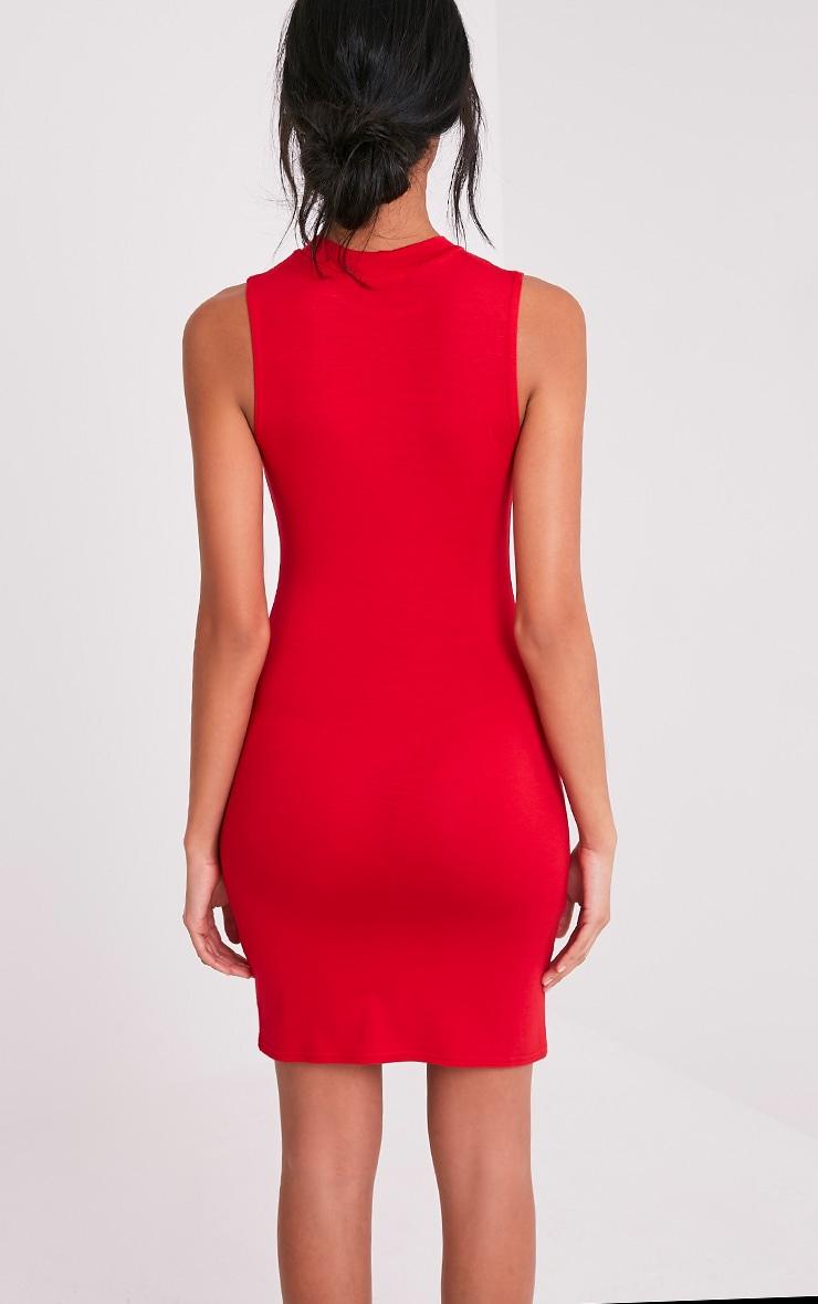 Rebecca Red High Neck Bodycon Dress 2