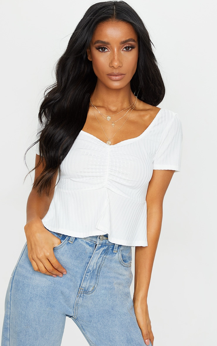 White Frill Hem Ruched Crop Top 1