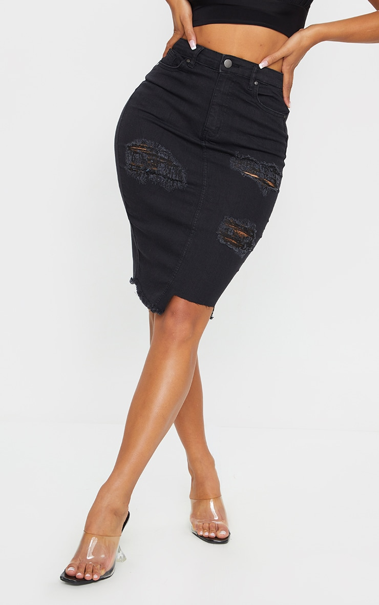Shape Black Ripped Stretch Cut Hem Midi Denim Skirt 2