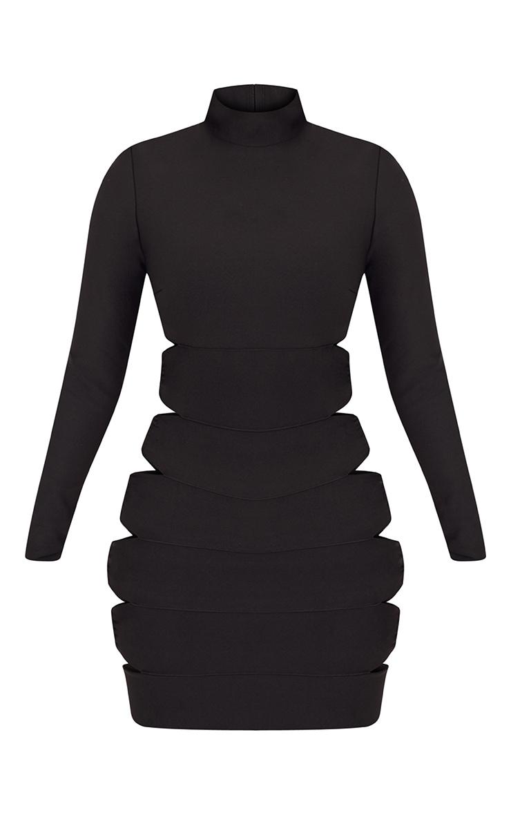Black Bandage Lace Up High Neck Bodycon Dress 3