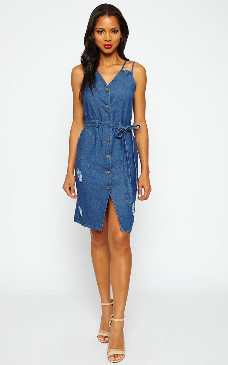 Elnora Blue Denim Midi Dress 3