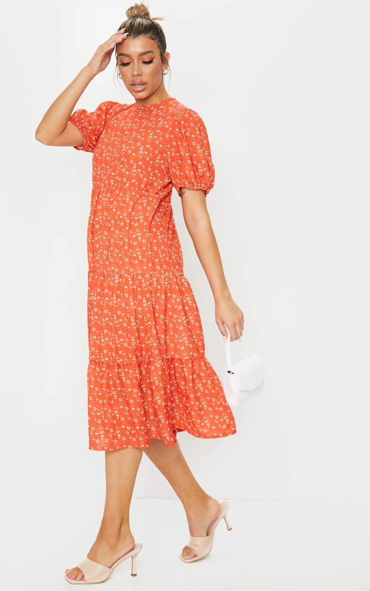 Red Ditsy Floral Print Puff Sleeve Tiered Hem Midi Smock Dress 3