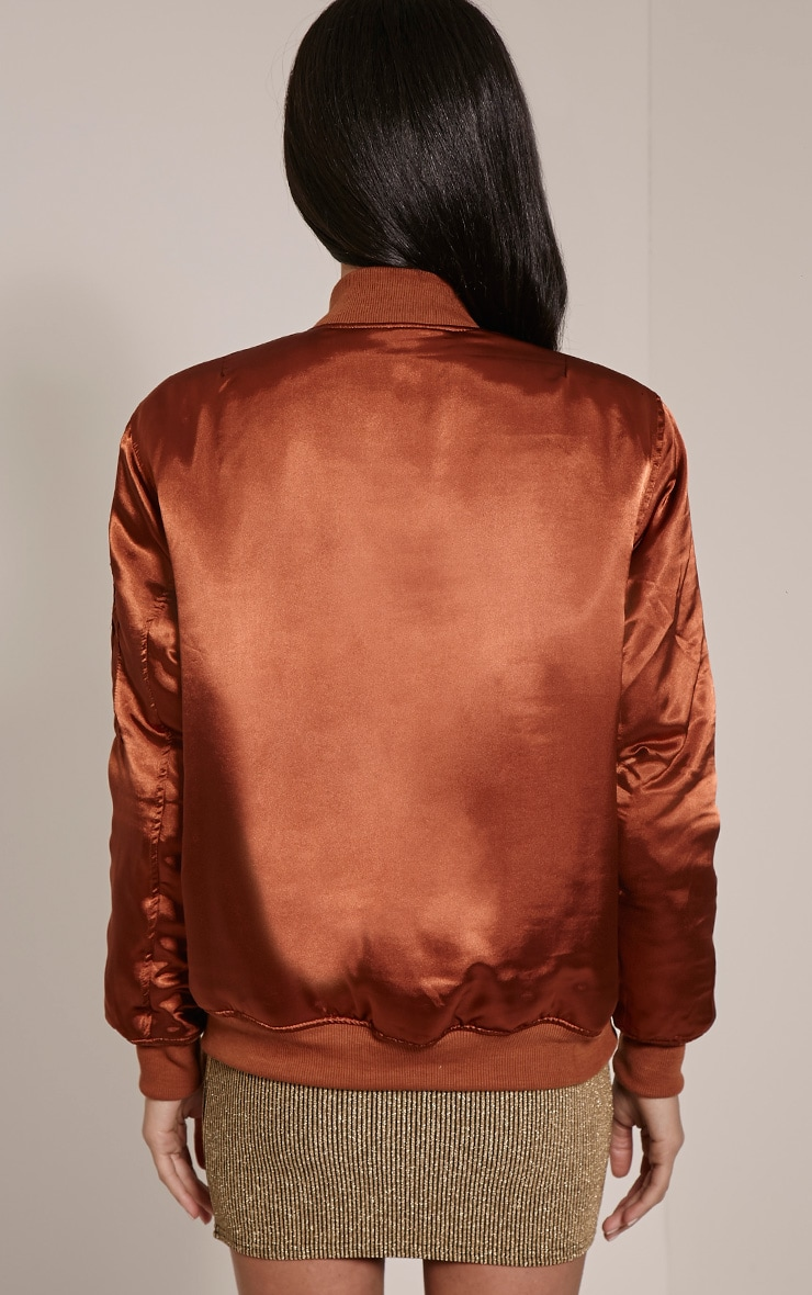 Cruz Brown Satin Oversized Bomber Jacket 2