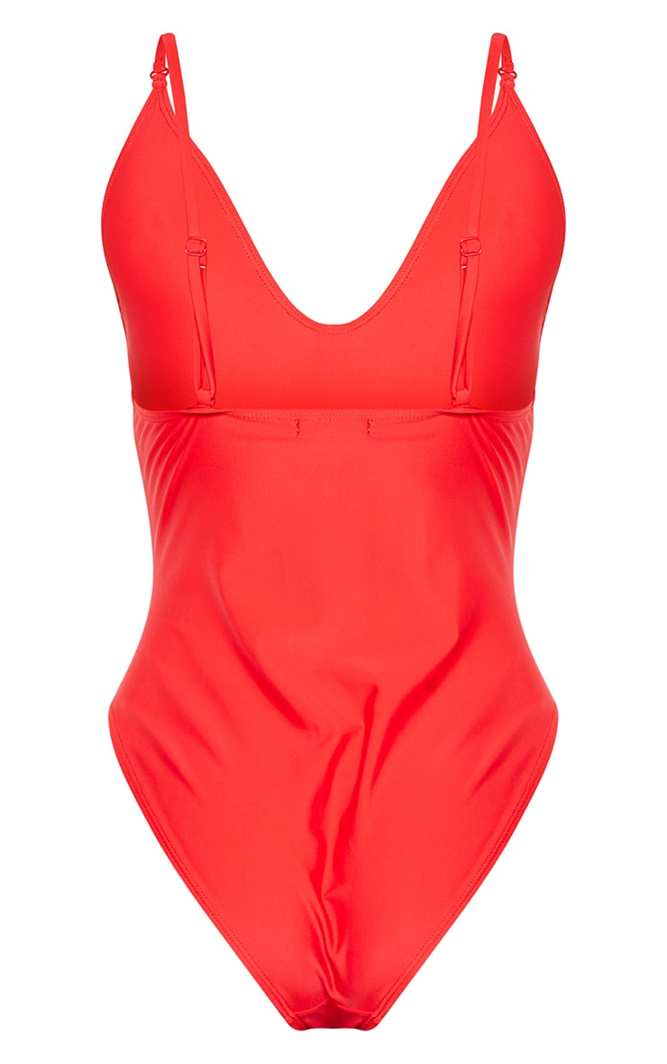 Red Basic Low Scoop Swimsuit 6