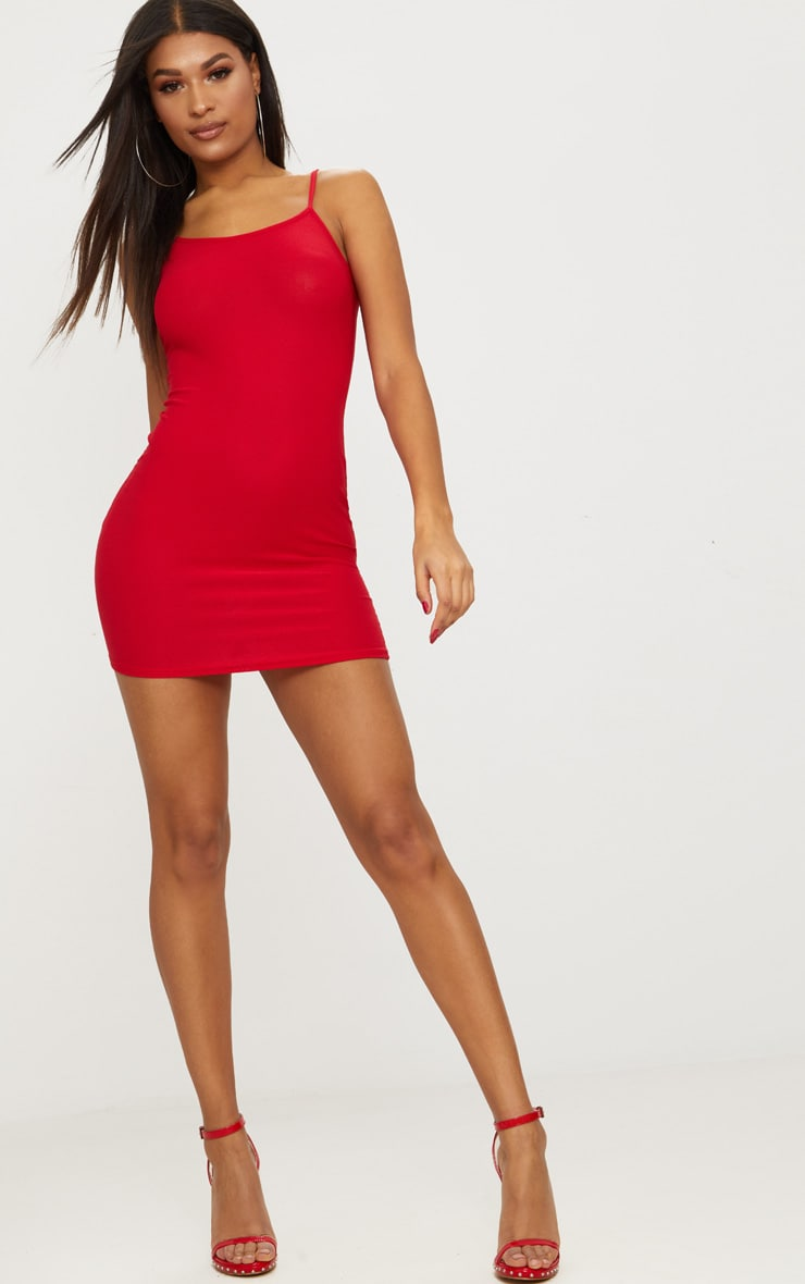 Red Crepe Strappy Bodycon Dress 4