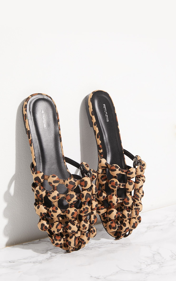 Leopard Dome Studded Mule Flats