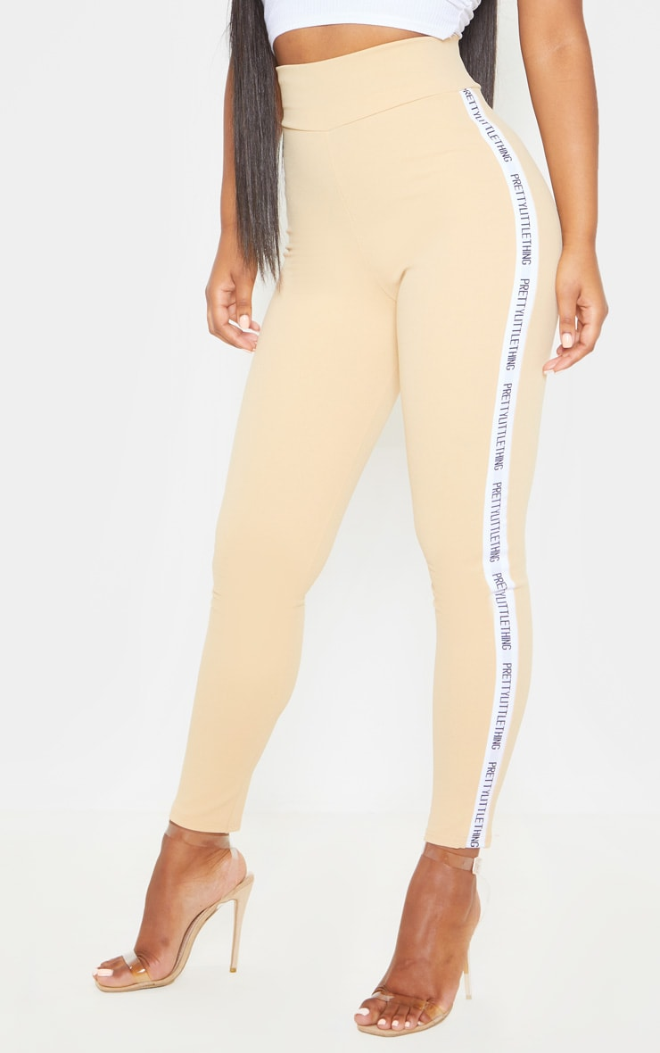 PRETTYLITTLETHING Biscuit Side Tape Leggings 2