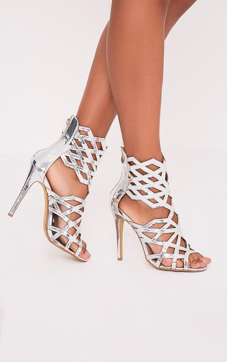 Derica Silver Metallic Honeycomb Heels 1