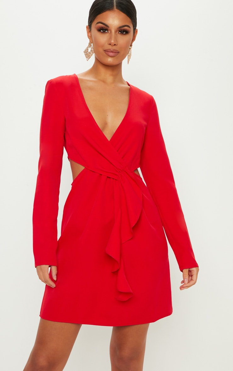 Red Wrap Frill Cut Out Shift Dress