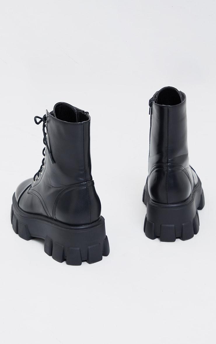 Bottines randonneuses pointure large noires à semelle chunky et lacets 4